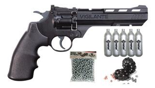 Pistola Revolver Co2 Vigilante Posta/diabolo + Gas + Munic