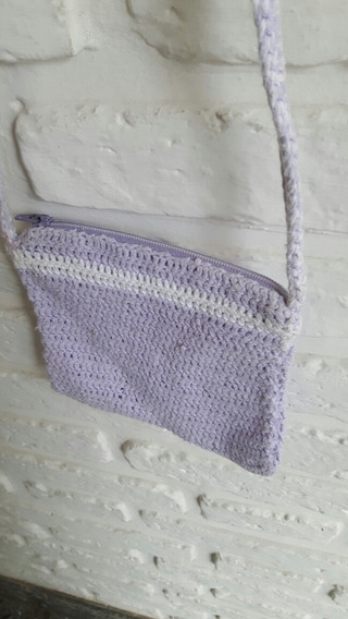Carterita Crochet Nena Lila Y Blanco Usada