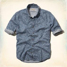 Camisa Social Hollister Em Azul E Estampa Geométrica