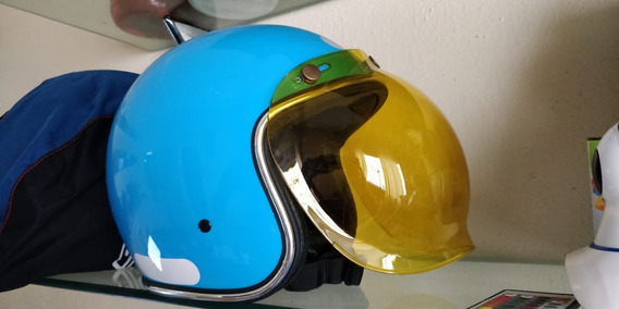 Capacete Urban Helmets Old School + Viseira Bolha Amarela