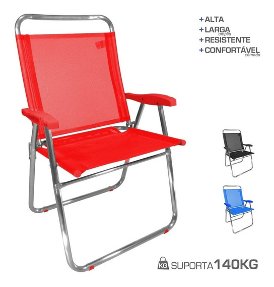 Cadeira De Praia King Oversize Plus Alumínio Até 140kg Zaka