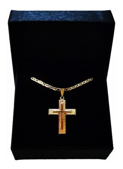 Colar Crucifixo Masculino Presente Namorado Banhado Ouro