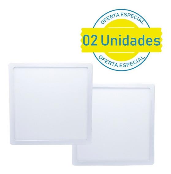 Kit 2 Plafon Quadrado 25w Led Sobrepor Painel Branco Frio