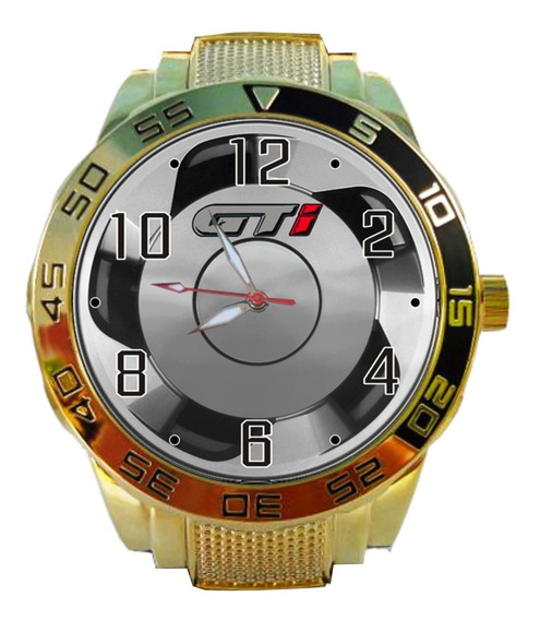 Relógio Pulso Volkswagen Golf Gol Gti Roda Orbital Dourado
