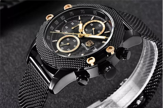 Relógio Pulso Luxo Benyar Aço Inox Preto 43mm - Hardlex