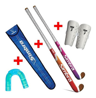 Kit Palo Hockey 36 + Canilleras + Bucal + Funda - Force