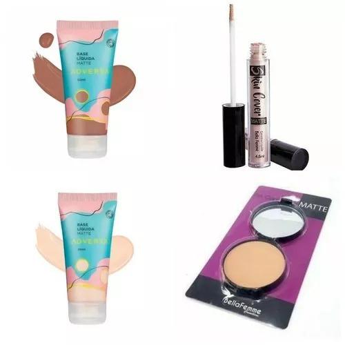 Maquiagem Kit Básico Base Pó Corretivo Grátis Gloss Labial