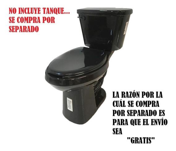 Taza Alargada Wc Negro Sanitario (tanque Aparte) C/envió