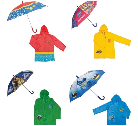Kit Capa De Chuva + Guarda-chuva Infantil Personagens