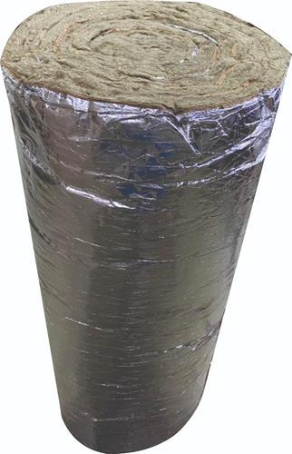 Imagen 1 de 4 de Rollo Lana Roca Mineral C/ Aluminio 5 Mts X 50mm 40kg/m3