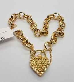 Pulseira Em Ouro 18k Portuguesa C Pega Ladrão Coração 10,09g