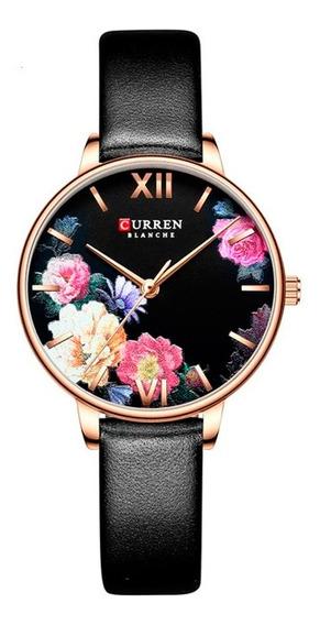 Reloj Curren Dama Elegante De Flores Correa Piel Negro