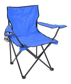 Silla Plegable De Playa Picnic Azul Con Porta Vasos Camping