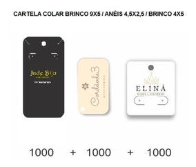 Cartela Bijuteria Colar 9x5 Tag Anel 4,5x2,5 Brinco 4x5 300g