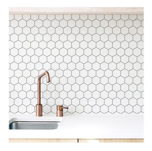 Imagen 1 de 1 de Vinilo Autoadhesivo Azulejos Hexagonales Blancos 125x60