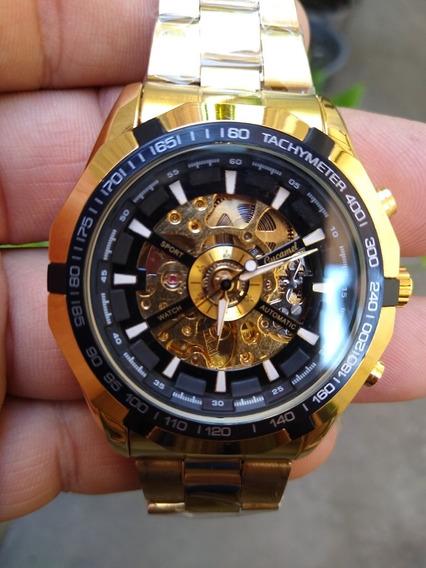 2 Relógios Um Prata E Um Dourado Automático Skeleton Promoçã