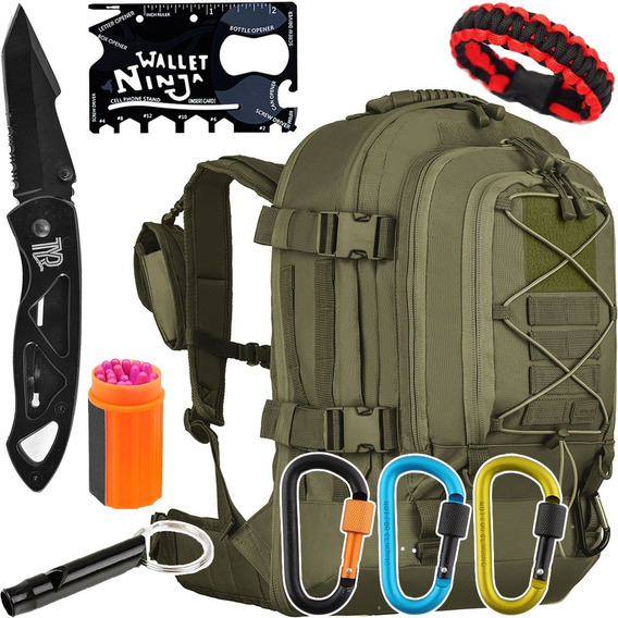 Kit Mochila Duster 50l Invictus + Acessórios Táticos Camping