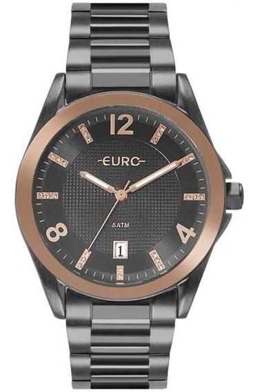 Relógio Euro Feminino Grafite C/ Rosê, Eu2315ho/4c
