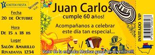 Invitaciones Ticket Fiesta Infantil Tarjetas De Invitación