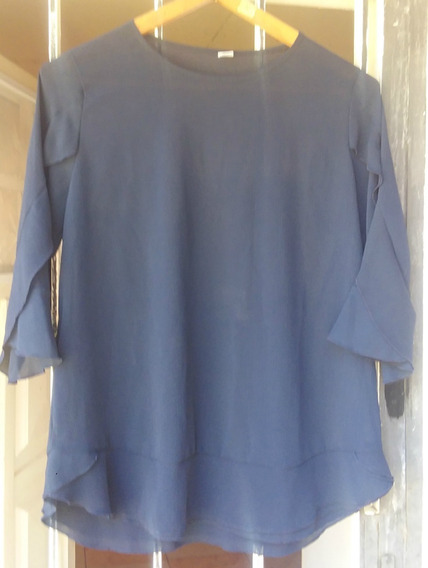 Camisa Blusa Mujer Oriental Blue Aqua Azul Talle 1 Impecable