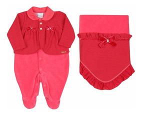 Saida De Maternidade Paraiso Vermelho Bebê Menina Plush 7070
