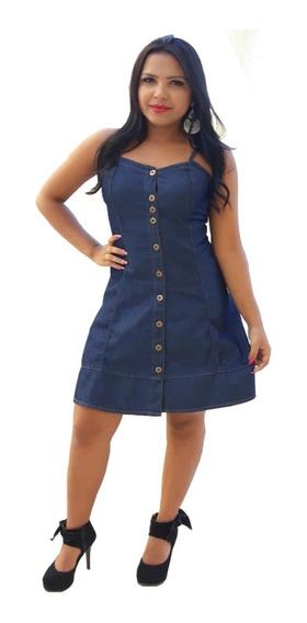 Roupas Femininas Vestido Médio Jeans Alcinha Regulável 042