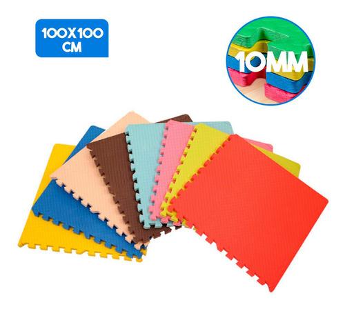 Imagem 1 de 7 de Tatame Tapete Eva 100x100x1cm 1x1 10mm - 4 Bordas - Colorido