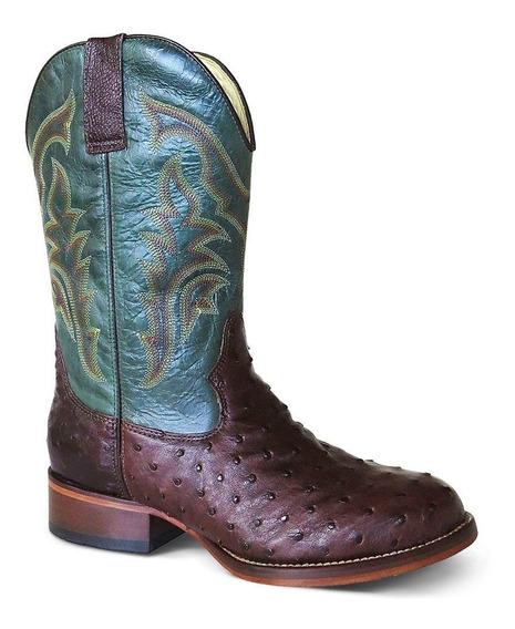 Bota Country Texana Exótica Silverado Couro Avestruz Masculi