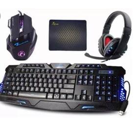 Kit Gamer Teclado Iluminado E Mouse 2400 Dpi E Fone Headset