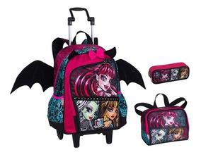 Kit Mochila Escolar Infantil Monster High Com Rodinha Gde