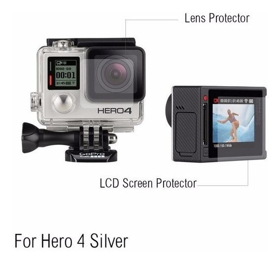 Película Para Gopro Hero 4, Go Pro Lcd + Lente Proteção