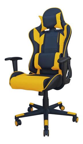 Imagen 1 de 1 de Silla de escritorio Desillas Pro Legend gamer  negra y amarilla con tapizado de cuero sintético