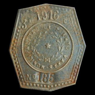 ¬¬ Placa Patente Chile Puerto Varas Año 1916 Carro Sangre Zp