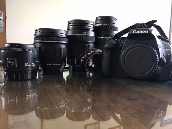 Canon T3i Com Lentes, Luz E Bolsa