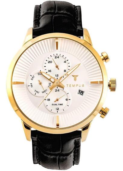 Relógio Tempus Dual Time Gold White
