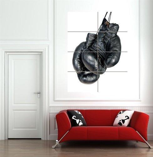 Guantes De Boxeo Monocromatico Negro Gigante Arte De La Par