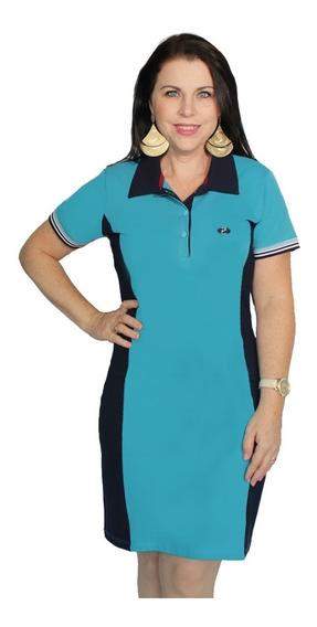 Vestido Polo Plus Size Piquet Com Recorte Feminino Zambelê