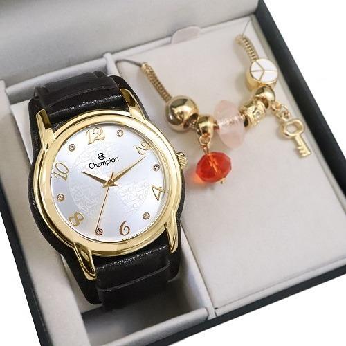 Relógio Champion Feminino Cn20355w + Colar E Brincos