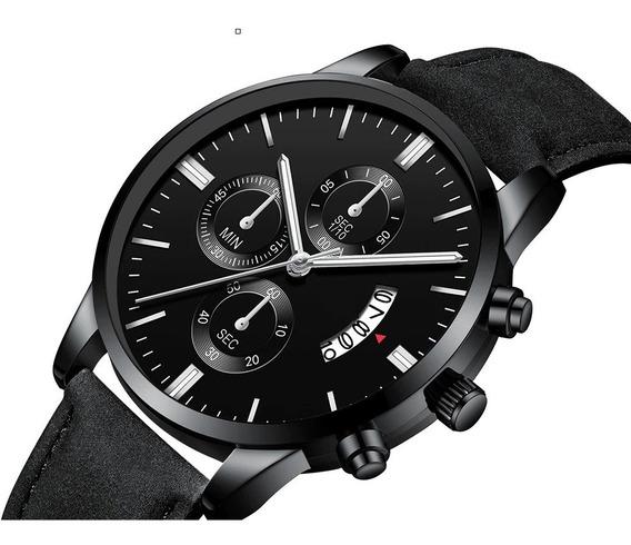Relógio Geneva Masculino De Pulso Calendário Pulseira Couro