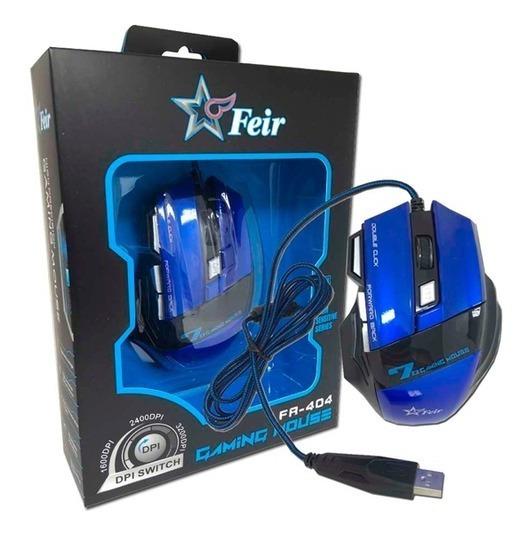 Mouse Gamer Óptico Usb Led 2400dpi 7 Botões Feir