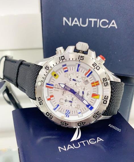 Relógio Náutica A24520g Aço Inox Cronômetro Original Branco