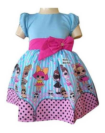 Vestido Lol Azul E Pink Super Luxinho