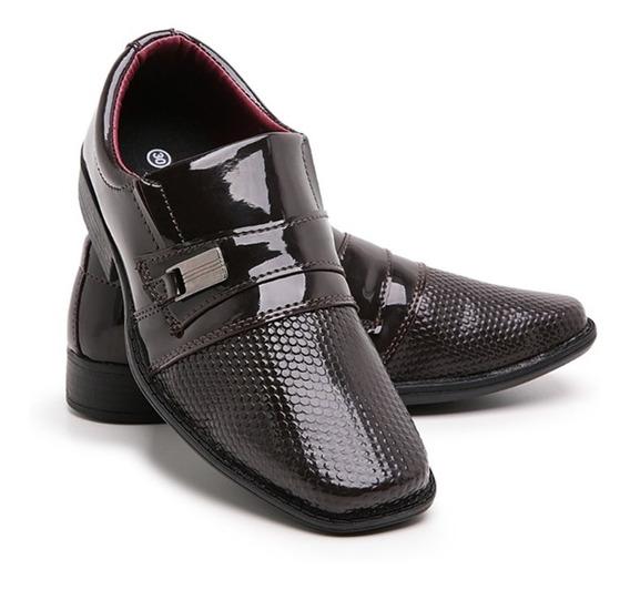 Sapato Social Infantil Masculino Verniz Brilhoso Franca 448