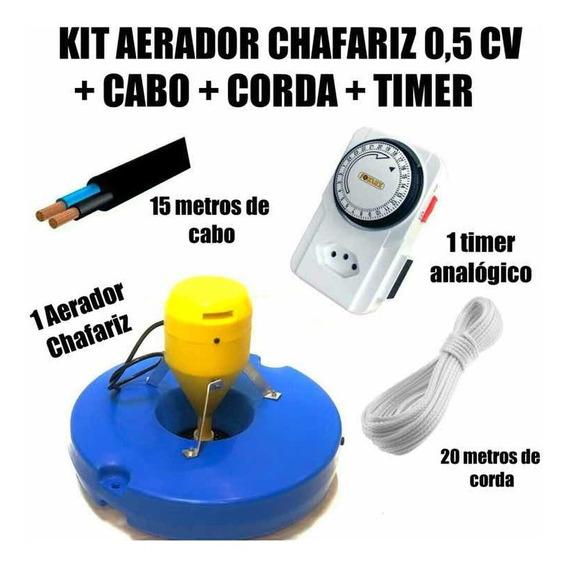 Kit Aerador Chafariz Piscicultura 500mtscabo+corda+timerfull