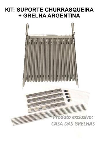 Conjunto Suporte Churrasqueira + Grelha Argentina Inox 50cm