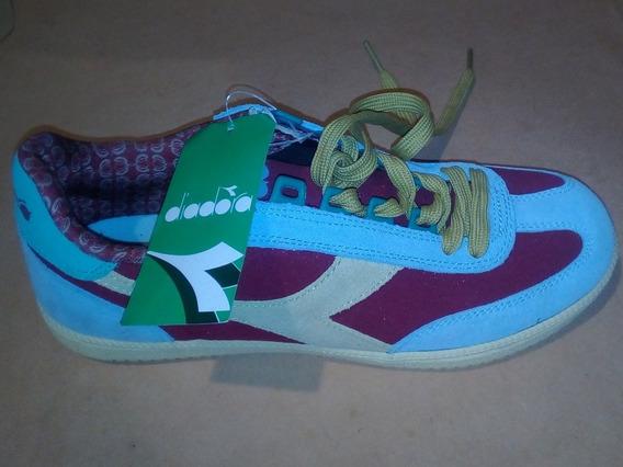 Zapatillas Diadora Derby Cuero Celeste Y Bordeau Unisex