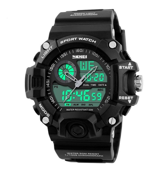 Relógio Masculino Skmei 1029 Esportivo Militar Anadigi Preto