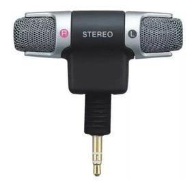 Mini Microfone Sony Stereo P2 3,5mm Ecm-ds70p Lapela Câmera