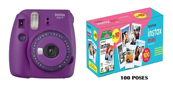 Câmera Instax Mini 9 Roxo Açaí Com 3 Filtros + 100 Poses