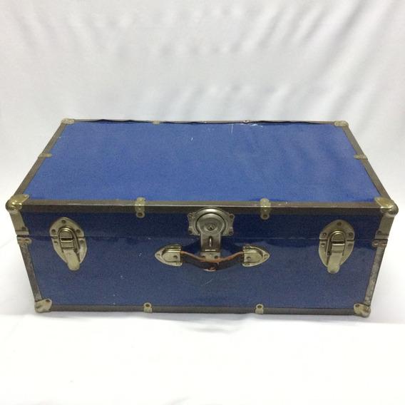 Maleta Baul Azul Antiguo Viejo Vintage Made Usa